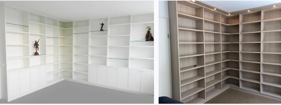 boekenkast in hoekopstelling met open hoek voorzien van hoekplanken